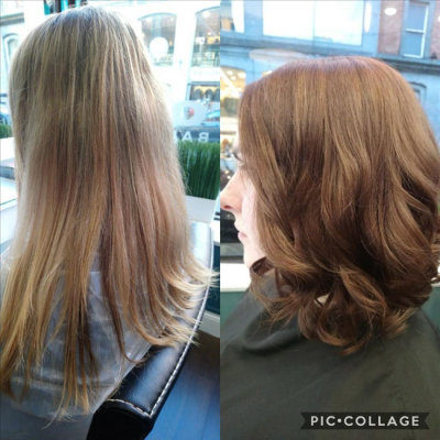 Hair salon Momento Galway before/after